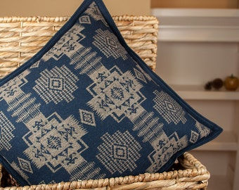 Siuslaw Blue - Woolen Pillow Sham made with Pendleton fabric