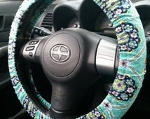 Teal and Flowers Car Steering Wheel Cover- Unique Automobile Accessories