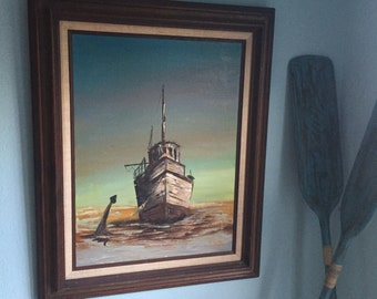 Stunning Vintage Nautical Old Ship Artwork Oil on Canvas Original Piece