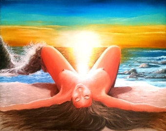 Erotic very hot painting of a lady with beautiful breasts, 61 x 76 cm