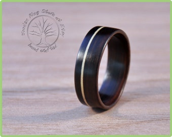 Ebony wooden ring with an inlay. Wedding band, engagement ring, ring for any other special occasion. Wooden jewellery. For man and woman.