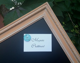 LARGE Holiday Magnetic Chalkboard Vintage Mustard Harvest Gold with White Wax 35 x 23 in. - Framed Magnetic Board - Vintage Style Chalkboard