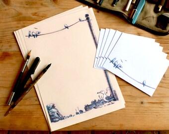 Coloured SEAGULL stationary set, printed envelopes