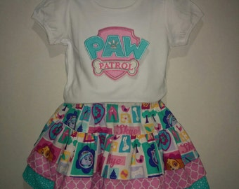 Girls Paw Patrol Skye Sky Everest Pup Puppy Boutique Birthday Party Skirt Set Outfit! Twirly Skirt! Embroidered Applique Shirt Dog Logo