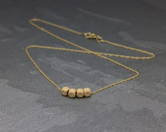 Christmas SALE! Solid 14K Gold Necklace | Solid 14K Yellow Gold Necklace with 4 Cubes Pendant | Gold Beaded Necklace