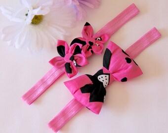 Heart Headband, Hot Pink Headband, Flower Headband, Bow Headband, Baby Bow Headband, Baby Headband, Girls Headband,