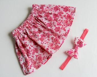 Girl's Skirt Set, Floral Skirt, Pink Girl's Skirt, Newborn Skirt, Baby Headband, Bow Headband for Newborn, Baby, Toddler & Children