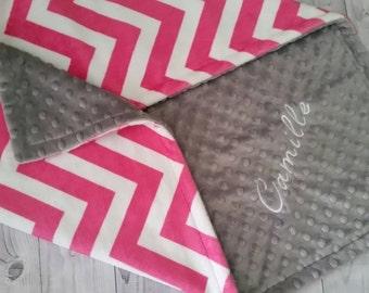 Personalized Minky baby blanket, Chevron Minky Blanket, Minky Baby Blanket, Baby Girl Minky Blanket, Girl Baby Blanket, Chevron Baby Blanket
