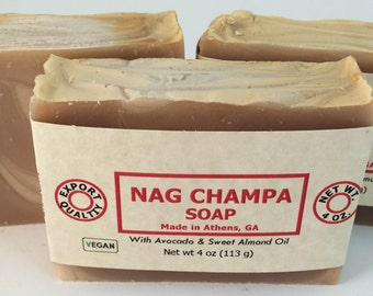 Nag Champa Handmade Natural Soap with Avocado Oil and Cocoa Butter