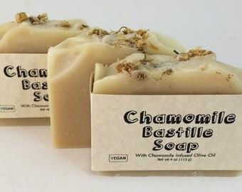Chamomile Bastile Handmade Soap with Cocoa and Kokum Butter, PALM FREE Soap, Chamomile Soap, Castile Soap