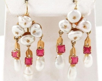"10-40% OFF SALE 18k Baroque Pearl Ruby 1 5/8"" Dangle Earrings"