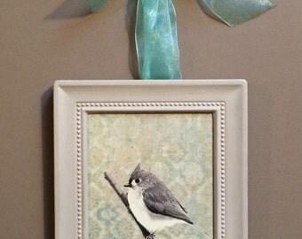 Titmouse Bird Print Framed Wall Art Hanging