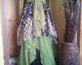 Loli Dot Citron women's handmade top / women's handmade dress/ women's handmade tunic / pixie top / pixie dress / Lagenlook top