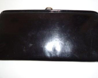 Vintage Black Patent/Vinyl? Metal Frame Clutch Purse