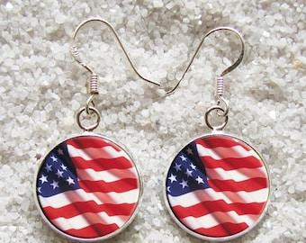 SALE 3 days 20% Resin EARRINGS - 925 Sterling Silver Hooks -((( American flag )))- INCREDIBLE Price