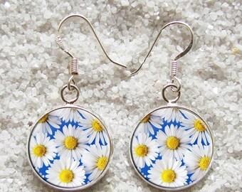 SALE 3 days 20% Resin EARRINGS - 925 Sterling Silver Hooks -((( Flowers )))- INCREDIBLE Price