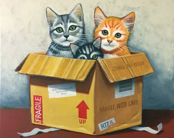 Painting of Cats, Painting of Kittens, Cat Painting, Kitten Painting, Cats Artwork, Kitten Art, Cat Art, Original Cat Painting,