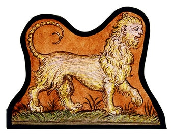 Manticore stained glass, kilnfired glass, glass painting manticore, classic stained glass, manticore suncatcher, manticore, medieval