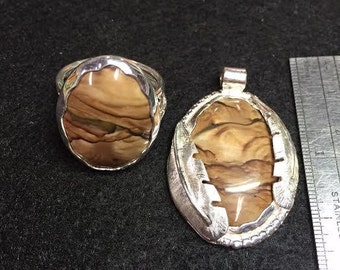 Picture Jasper ring and pendant combo  Item # 013