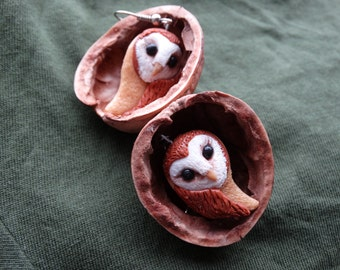 Polymer Clay Barn Owl Earrings, Barn Owl earrings, Polymer Clay Bird Jewelry, Owl Earrings