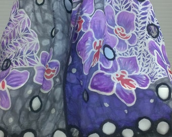Batik Scarf with Orchids, Nunofelted  Pattern and Cutouts