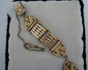 Handsome Vintage Pocket Watch Chain and Link Fob on Waist clip
