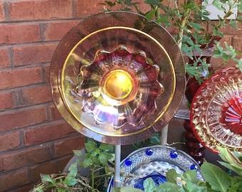 Iridescent Golden Plum Glass Flower