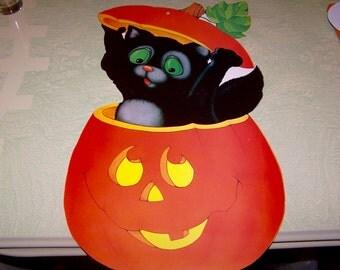 Vintage retro Eureka Halloween die cut decoration black cat JOL jack o' lantern pumpkin