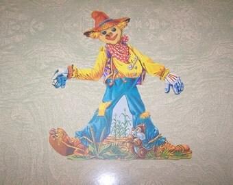 Vintage retro Halloween scarecrow die cut decoration