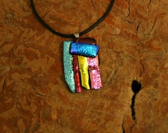 Fused Glass Necklace - Dichroic Pendent - Dichroic Fused Glass Necklace