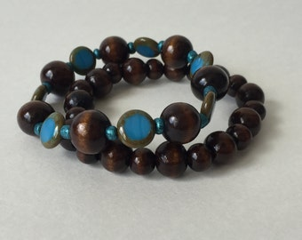 Turquoise and Wood Bracelets