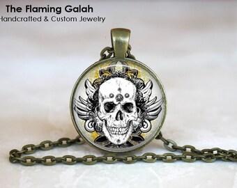 BIKER SKULL Pendant • Skull & Feathers • Skull Art • Pirate Skull • Gothic Skull • Skull Jewelry • Gift Under 20 • Made in Australia (P0536)