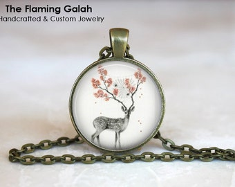 STAG and FLOWERS Pendant •  Beautiful Stag •  Pretty Stag •  Reindeer and Flowers • Floral Deer • Gift Under 20 • Made in Australia (P02014)