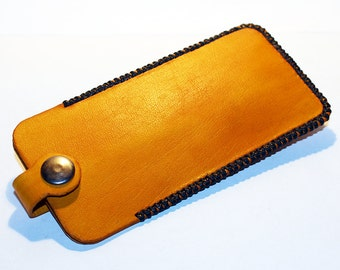 Leather key holder, handmade yellow leather case with silver key ring, great gift for men, great gift for women.