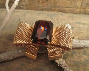 vintage gold tone faux smoky topaz mesh brooch