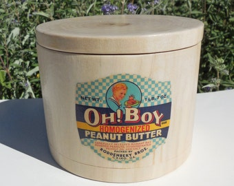 Blonde Wooden Canister with Vintage Oh! Boy Peanut Butter Label, Natural Cottonwood Canister with 1940's Label