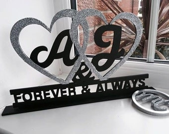 Hearts with Initials Engraved Plinth Stand