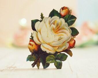Vinatge White Rose Brooch | Wooden Brooch