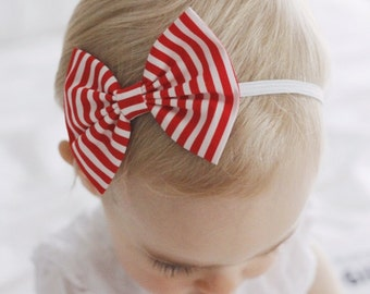Mini Red Stripe baby bow - bow