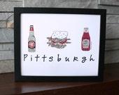 Pittsburgh Foodie Print Iron City Beer Heinz Ketchup Primanti Sandwich
