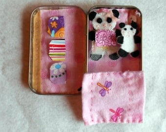 A ballerina/gymnast panda play set, altoid tin road trip,bedtime, summer travel, girl, quiet time, stuffed, leotard, sleepover, personalized