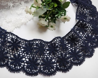 """ON SALE, Cotton lace trim navy blue lace trim embroidery lace trim 1.97""""wide(yuan)"""