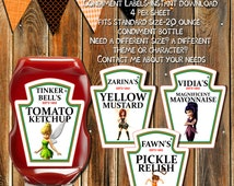 PIRATE FAIRIES Ketchup Labels-Condiment Labels-Tinker Belle-Zarina-Vidia-Fawn- Party Labels-Ketchup Labels-Stickers-Bottle Labels-Party Tags