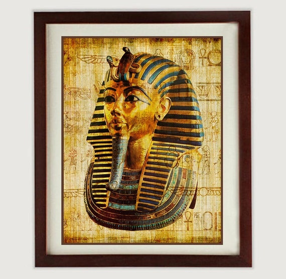 King Tut Art Print Tutankhamun Ancient Egypt Wall Art Old Antique Style  Printable INSTANT DOWNLOAD Vintage Egyptian King Wall Decor