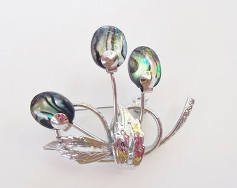 ABALONE BROOCH Floral Ladies Vintage Brooch With Abalone Petite Delicate Brooch
