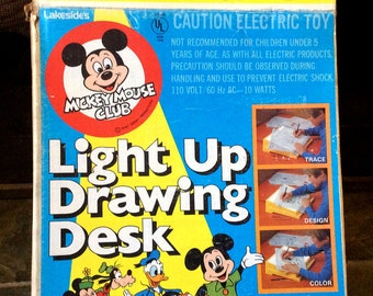 Vintage Estate 1970's Mickey Mouse Light Up Drawing Desk Complete with Box Book Pencils