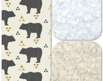 Minky and Faux Fur Blanket - Bears and Triangles