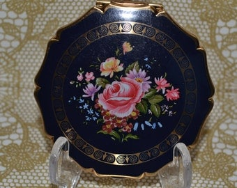 Vintage 1970's Queen Style Convertible Powder Compact for Loose or Solid Powder