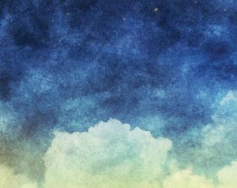 3x3 Watercolor Night Dream Sky Scenic Photography Backdrop - Fab Vinyl 3x3 ft (FV5126)
