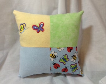 Baby Butterfly Pillow on Yellow